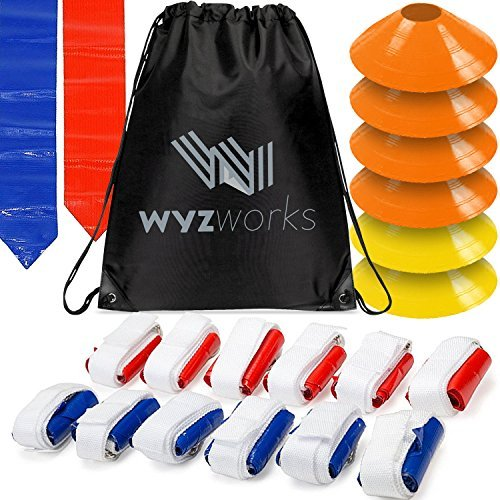 WYZworks 12 Player 3 Flag Football Kit Set - 12 Belts with 36 Flags [ 18 RED & 18 BLUE Flags ] BONUS 6 Cones + Travel Bag by WYZworks