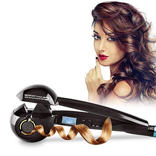 Prakal LuckyFine US Plug Function Automatic Steam Ceramic Iron Hair Curler with LED Digital Display, 3 Curls Directions, 3 Time Settings, 3 Temperature Settings (Black)