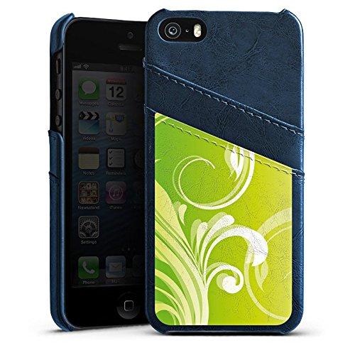 Apple iPhone 4 Housse Étui Silicone Coque Protection Fleurs Fleurs Vrilles Étui en cuir bleu marine