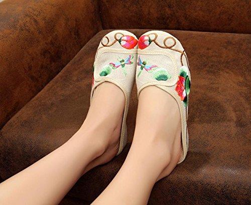 ZLL Feine gestickte Schuhe, Sehnensohle, ethnischer Stil, weiblicher Flip Flop, Mode, bequem, Sandalen meters white