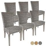 Rattanstuhl-Set Cardine 6 Stück Esszimmer-Stuhl mit/ohne Sitzkissen Basalt ohne Sitzkissen