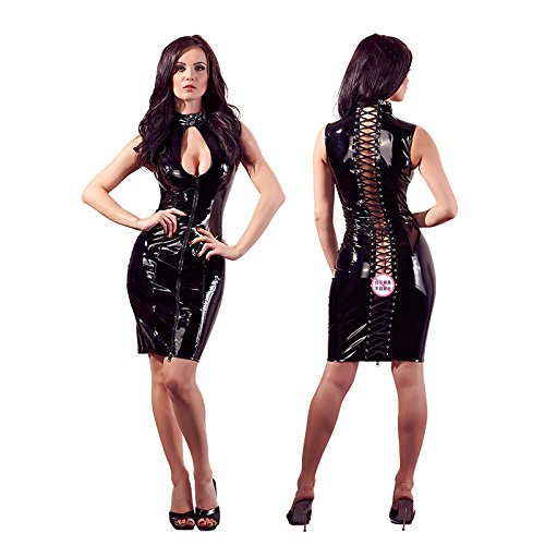 Leder Kleid, Sexy Damen Off-Schulter Ärmelloses Kleid Eng anliegendes Clubwear mit Wetlook Catsuit Stripper Bodycon Klei