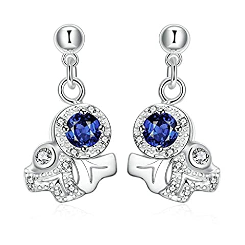 AMDXD Jewelry Gold Plated Women White Gold Earrings Tree Branch Round Blue Elements