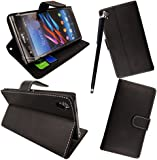 FOR SONY XPERIA J ST26i PREMIUM QUALITY PU LEATHER MAGNETIC FLIP CASE COVER POUCH + SCREEN PROTECTOR +STYLUS (Black Book Flip)