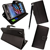 GSDSTYLEYOURMOBILE {TM} SONY XPERIA T LT30i LT30P VARIOUS PU LEATHER MAGNETIC FLIP CASE COVER POUCH + STYLUS (Black Book)