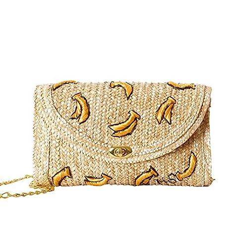 Donalworld Women Embroidery Woven Cherry Cute Banana Summer Beach Messenger Shoulder Mini Bag