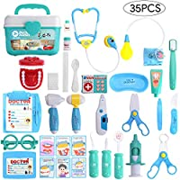 Balnore Doctor Kit for Children 35 Pieces Pretend Play Set Dentist Medical Kit Doctor Role Play Educational Toy for Kids
