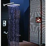HONGHUIYU Moderne Wandmontage Regendusche Handdusche inklusive Thermostatische LED Messingventil Zwei Griffe Vier Löcher Chrom, Duscharmaturen