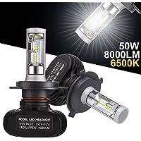 Greenclick 2*H4 Seoul-CSP LED Voiture Ampoules, 50W 8000LM 6500K IP65, Phare Auto Feux Conversion Ampoule Light Car Headlight LED Véhicule pour la Pluspart des Voitures. (S1, H4)