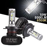 GreenClick 2*H4 Seoul-CSP LED phares Voiture Ampoules,Etanche IP65, 50W 8000LM ,Car Headlight LED Véhicule Blanc Pur 6500K Tout-en-un kit de conversion.(H4)