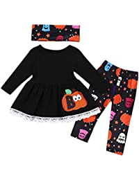 Preisvergleich für Cloom 3 Stück Kinder Langarm Halloween Kürbis Print Kleid+ Pants+ Lätzchen Set Kleinkind Mädchen Langarm Sweatshirt...