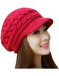 Mujer Vintage elegante Lana Boina Gorro Invierno Cálido Color sólido  Sombrero de invierno Rojo 4f4f12d40a7