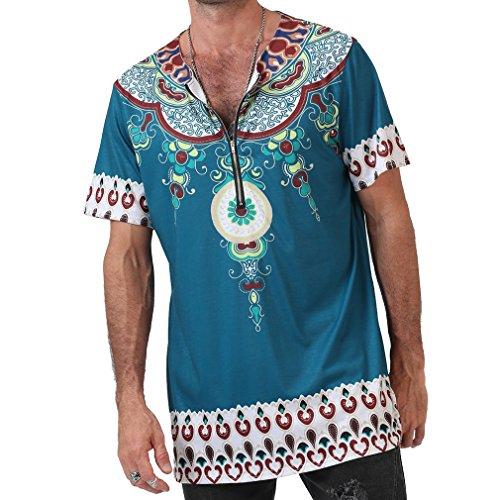 Camisetas De Manga Corta con Cuello Redondo Sueltas De Verano para Hombres Festival Hippie Tops Camisetas con Estilo Étnico Africano Tradicional
