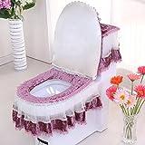 WANG-shunlida coreano Set di tre pezzi in pizzo panno WC WC Fodera per cuscino con cerniera di tipo europeo a forma di U WC F