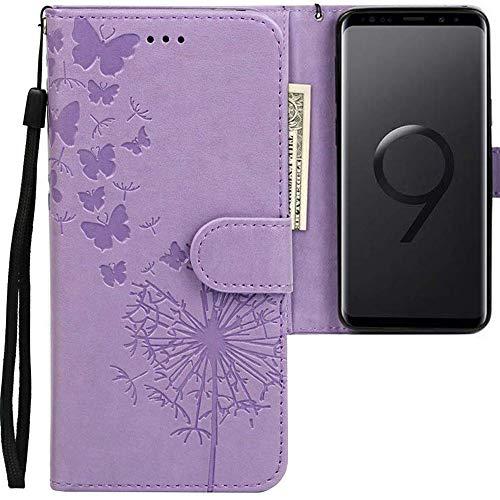 CLM-Tech kompatibel mit Samsung Galaxy S9 Hülle, PU Leder-Tasche mit Stand, Kartenfächern, Lederhülle Kunstleder, Schmetterlinge Pusteblume lila