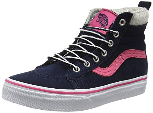Vans Sk8-Hi, Scarpe da Ginnastica Alte Unisex - Bambini, Blu (Mte Navy/Pink), 34 EU