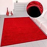 Primer Shaggy Color Rojo Alfombra Suelo Alto Largo Alfombra Moderna para Sala De Estar Dormitorio - VIMODA - Rojo, Ø 80 cm redondo