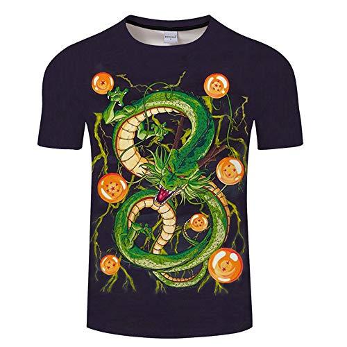 Ywfzzxs T-Shirt 3D Tops Mode-T-Shirts Unterhemden Kurzarm Unisex Neuheit Kostüm HD Anime Druck Weste Dragon Ball Super Shenron - 1910 Herren Kostüm