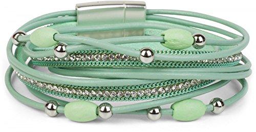 styleBREAKER Wickelarmband mit Strass und Ketten, Schmuck Perlen und Bändern, Magnetverschluss, Armband, Damen 05040075, Farbe:Mint