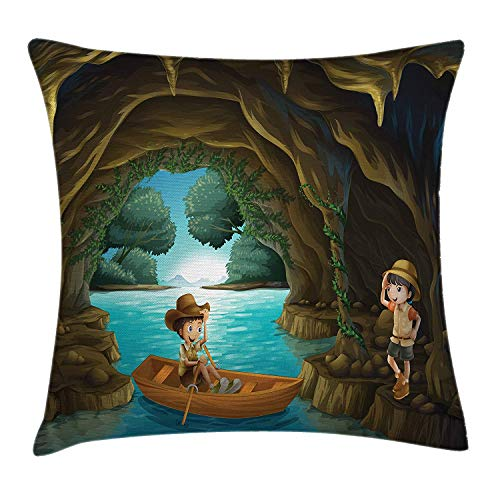 Explore Throw Pillow Cushion Cover, Girl and Boy in a Cave with River and Rowboat Boy Scouts Cartoon Style Illustration, Decorative Square Accent Pillow Case, 18 X 18 inches, Multicolor