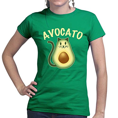 avocado-avocato-cat-kitten-kitty-pet-ladies-t-shirt-top-small-forest-green