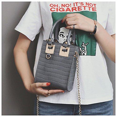 Ms. Hardware Square Marke Stein Handtasche Kleine Quadratische Tasche Messenger Bag hellgrau