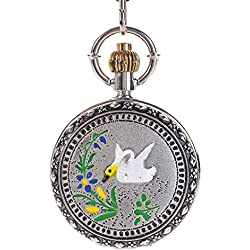 Classic Roman Numbers Sliver Alloy Mens Pocket Watch Long Chain