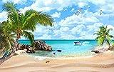 Fototapete Vlies Tapete 3D wallpaper Wanddeko Design Moderne Anpassbare Wandbilder blick aufs meer der strand am mittelmeer landschaft im hintergrund mauer