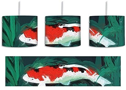 gezeichnete Koi Karpfen inkl. Lampenfassung E27, Lampe mit Motivdruck, tolle Deckenlampe, Hängelampe, Pendelleuchte - Durchmesser 30cm - Dekoration mit Licht ideal für Wohnzimmer, Kinderzimmer, Schlafzimmer