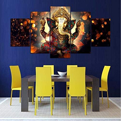 cmdyz (Kein Rahmen) Leinwand Gemälde Wandkunst HD Drucke 5 Stücke Ganesha Bilder Elefant Stamm Gott Poster Modular Für Wohnzimmer Dekor