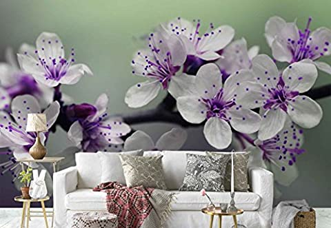 Vlies Fototapete Fotomural - Wandbild - Tapete - Blumen Ast Lila - Thema Blumen - XXL - 416cm x 290cm (BxH) - 4 Teilig - Gedrückt auf 130gsm Vlies - FW-1026VEXXXXL