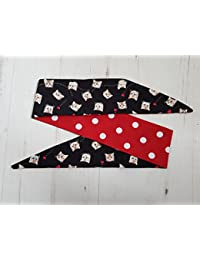 Reversible Cat Chasing Hearts And Red Polka Dot Rockabilly Head Scarf - Kitten Hair