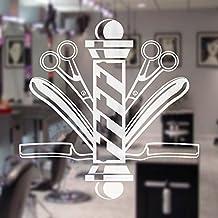 """Barber Símbolo Die-Cut Escaparate adhesivo adhesivo pared pelo Peluquería Signboard barbería Tijeras Decor, vinilo, Blanco, 34""""x34"""""""
