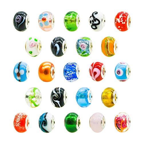 perlen Großloch European Perlen Mehrfarbig für Schmuckherstellung Armbänder Halsketten ()