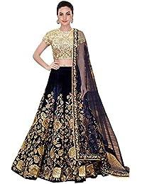 ea466b36fca38b A.R.Sundaram Fashion Women s Velvet Lehenga Choli (ARS-81  Blue  Free Size)