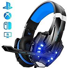 Galopar Gaming Headset, Gaming Kopfhörer mit Mikrofon, Bass Stereo Surround, kompatibel mit PS4 / Xbox One/PC/Laptop/Nintendo Switch und Mobile - Blau -Verlängerungskabel * 2 & Headset Haken