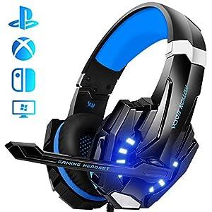 Galopar Gaming Headset, Gaming Kopfhörer mit Mikrofon, Bass Stereo Surround, kompatibel mit PS4 / Xbox One/PC/Laptop/Nintendo Switch und Mobile – Blau -Verlängerungskabel * 2 & Headset Haken