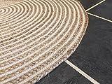 Second Nature Große 120cm rund Teppich beige Geflochten Natur Jute und Baumwolle Teppich