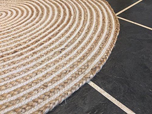 Gran 120cm redondo color beige alfombra Natural trenzado yute y algodón alfombra