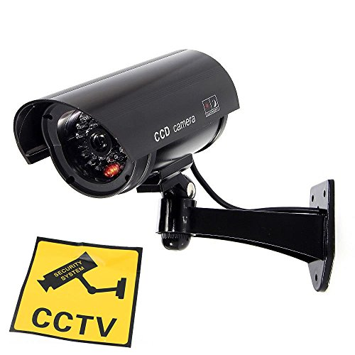JUSTOP Dummy CCTV Camera Outdoor / Indoor Waterproof With Reality LED Light Fake CCTV Cam – Black