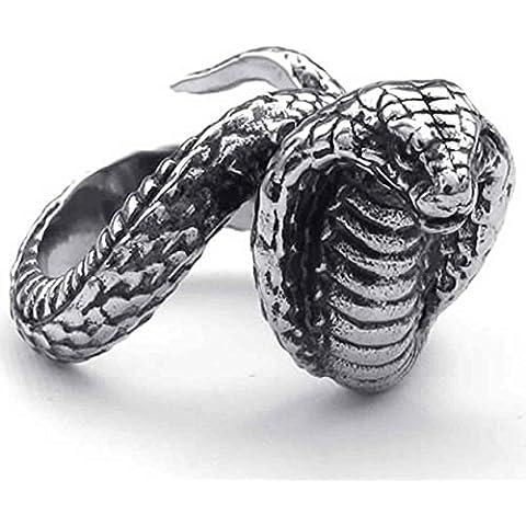 AnaZoz Acero Inoxidable Cobra Serpiente Bandas Negro Biker Anillos de Hombres Plata Retro Joyería de Moda