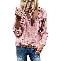 Yvelands Mujer de Manga Larga de algodón de la Borla del Vendaje del Remiendo de la Camiseta Blusa Tops