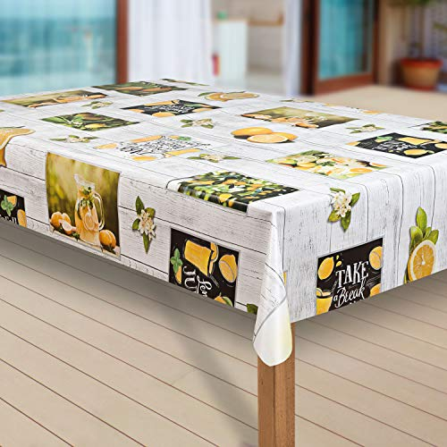 laro Wachstuch-Tischdecke Abwaschbar Garten-Tischdecke Wachstischdecke PVC Plastik-Tischdecken Eckig Meterware Wasserabweisend Abwischbar G11, Größe:110x160 cm, Muster:Zitrone Zitronenbaum gelb