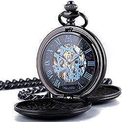 Manchda Negro Azul gemelas con tapa Hunter retro romano Dial Mens mecánico reloj de bolsillo Esqueleto