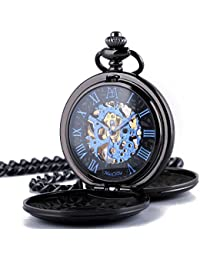 amazon co uk pocket fob watches watches manchda® retro mens pocket watch double engraved skeleton mechanical golden movement chain gift