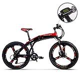 Unbekannt 26 'Elektrofahrrad, elektrisches Klapp-Mountainbike, E-Bike-Citybike-Pendlerfahrrad mit herausnehmbarer 36-V-Lithiumbatterie, Elektrofahrrad Shimano 21 Speed Gear und DREI Arbeitsmodi (rot)