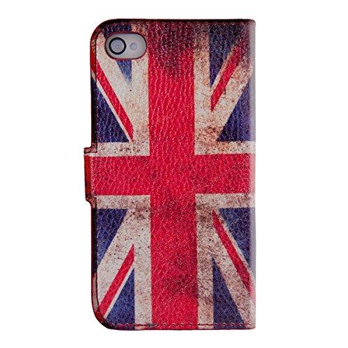 kwmobile Wallet Case Hülle für Apple iPhone 4 / 4S - Cover Flip Tasche mit Kartenfach in Schwarz Flagge Großbritannien Rot Weiß Blau