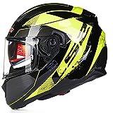 CHB Outdoor Riding Helmet Street Bike Racing Collision Helm Doppel Lens Motorrad-Helm Locomotive Racing Full Helm mit Airbag-socken,001,L