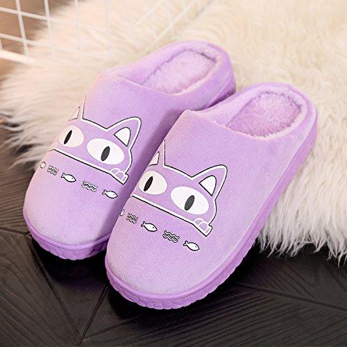 DogHaccd pantofole,Autunno Inverno paio di pantofole di cotone femmina calda interna antiscivolo pacchetto carino con un soggiorno di lana spesse pantofole maschio La porpora1