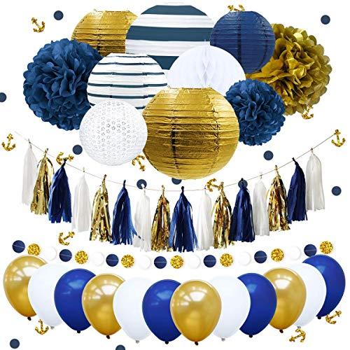 e Junggesellenabschiede Partydekorationen marineblaue gestreifte goldene Papierlaternen königsblau Seidenpapier Pompons Konfetti Quaste Girlande Party Ballon Hochzeit Brautpaar ()